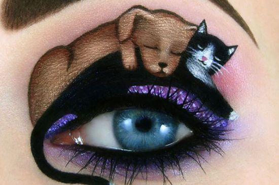以色列天才艺术家在眼睛上创作超萌猫咪画