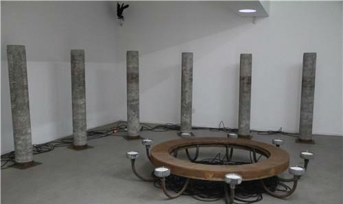 作者:管怀宾 作品名称:《蚀光》 尺寸可变 材质:金属、灯架、黑炭、水泥柱、聚光灯、白蜡、计时器、电缆