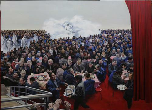 作者:贺丹  作品名称:《现实生活》 尺寸:250×200cm 材质:布面油画