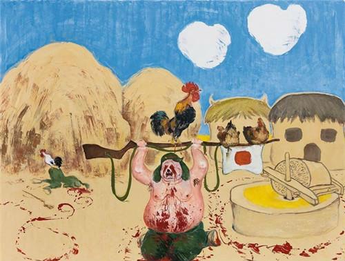 作者:王兴伟 作品名称:《抗日神鸡》 尺寸:200×240cm 材质:布面油画