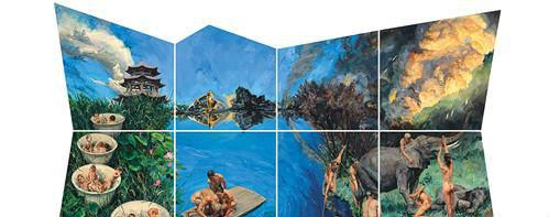 作者:喻红 作品名称:《游园惊梦》 尺寸:500×920cm 材质:布面丙烯