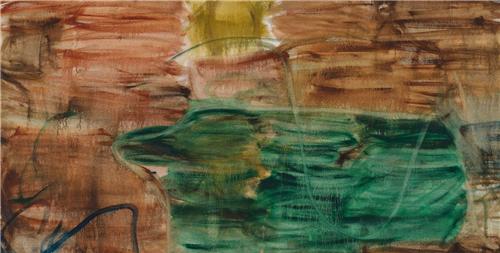 作者:张恩利 作品名称:《土红与深绿》(局部) 尺寸:250×300 材质:布上油画