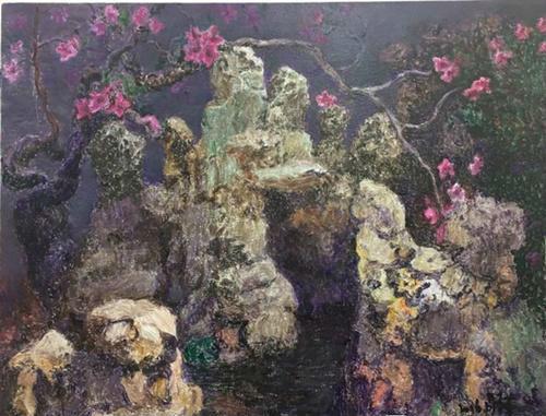 作者:周春芽 作品名称:《扬州一景》 尺寸:120×150cm 材质:布面油画