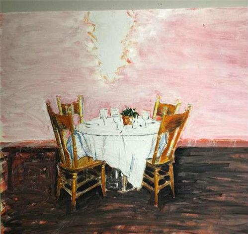 作者:曾浩 作品名称:《桌布》 材质:布面油画