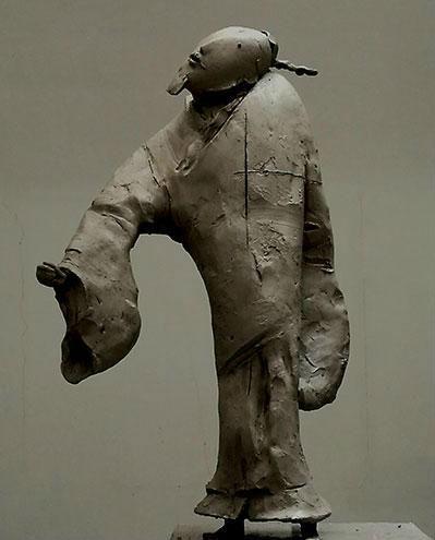作者:李象群 作品名称:《元四家之吴镇》 尺寸:61×24×26cm 材质:白铜