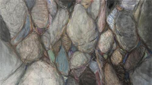作者:党震 作品名称:《荒石·魂灵》 尺寸:179×288cm 材质:纸本设色