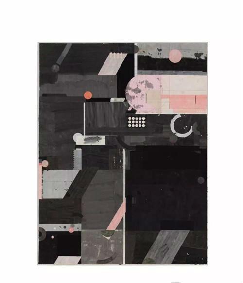作者:梁铨 作品名称:《红月亮》 尺寸:160×122cm 材质:宣纸,水墨,色拼贴