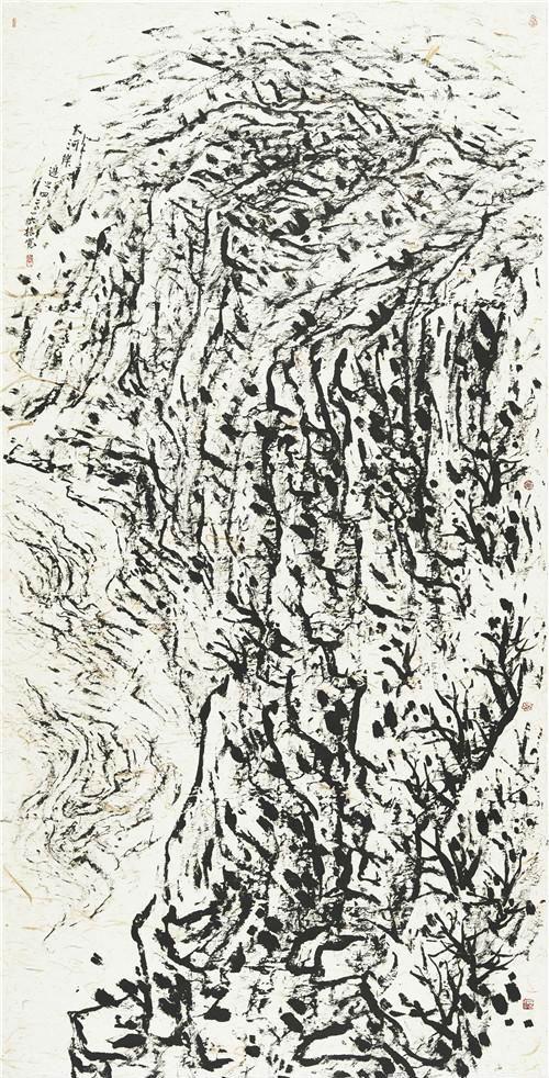作者:崔振宽 作品名称:《大河岸边之四》 尺寸:251×122.5cm 材质:纸本焦墨