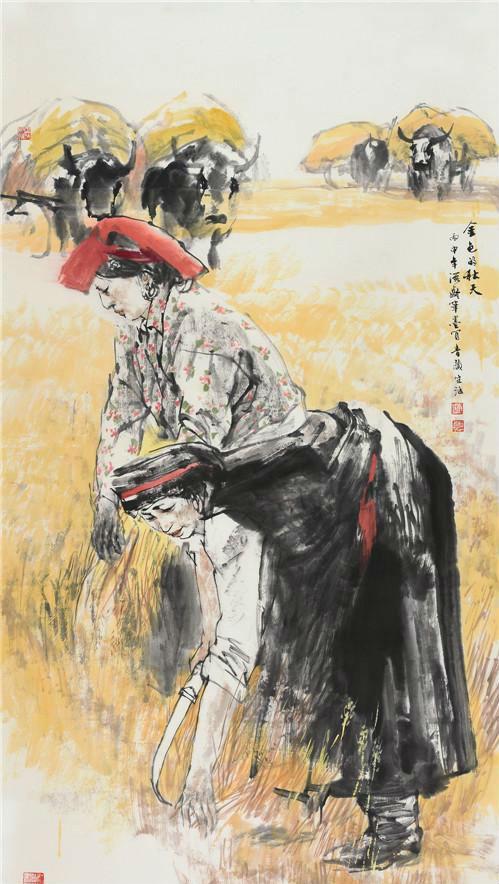 作者:杜滋龄 作品名称:《金色的秋天》 尺寸:180×97cm 材质:中国画