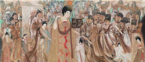 作者:唐勇力 作品名称:《盛唐书画艺术》 尺寸:190×380cm 材质:中国画