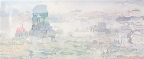 作者:田黎明 作品名称:《桃花源记》 尺寸:196×402.8 cm 材质:中国画