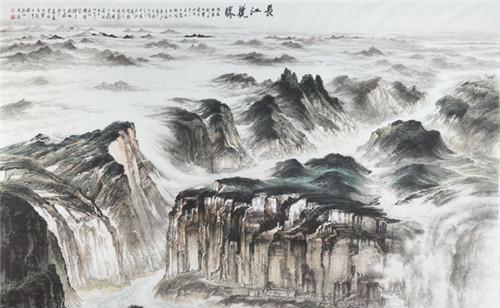 作者:许钦松 作品名称:《长江揽胜》 尺寸:6.7×4.7m 材质:水墨