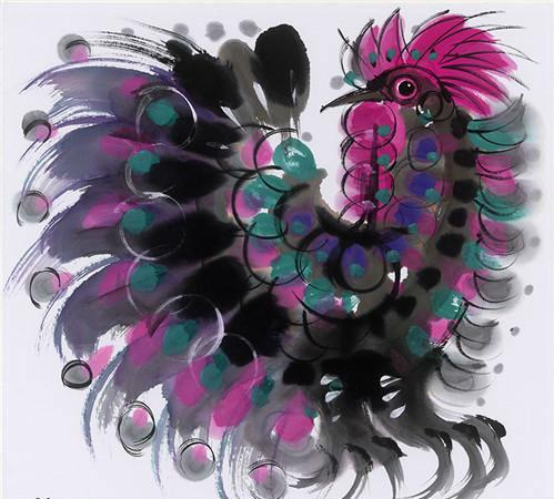 作者:韩美林 作品名称:《鸡》 尺寸:55×55c 材质:宣纸水墨
