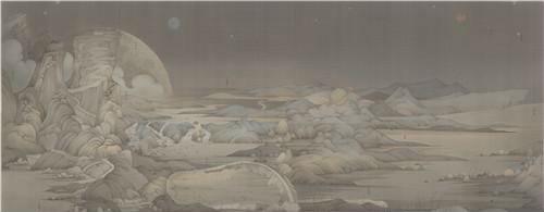 作者:郝量 作品名称:《潇湘八景-遗迹》尺寸:387×184cm 材质:绢本水墨