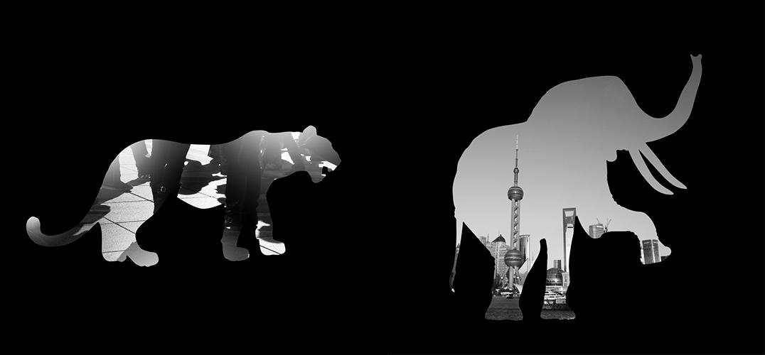 生活场景与动物剪影别致的融合