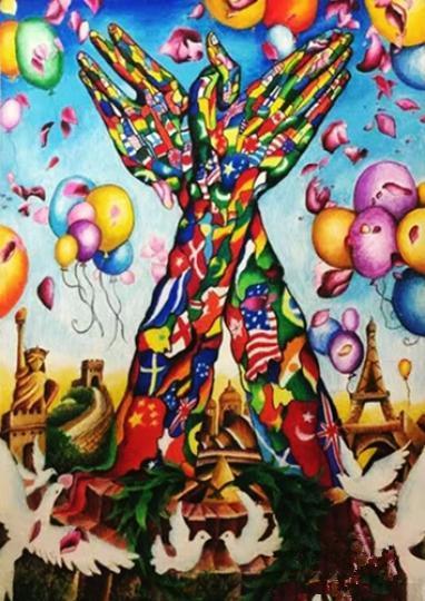 《庆祝和平—共铸和平》海报,荣获2016年全球和平海报大赛佳作奖图片