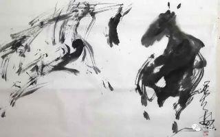 霜凝先生狂草画——奔马之六