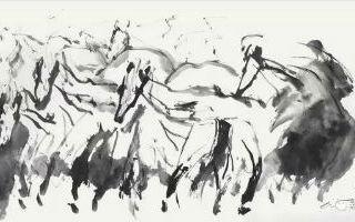 霜凝狂草画——奔马之三