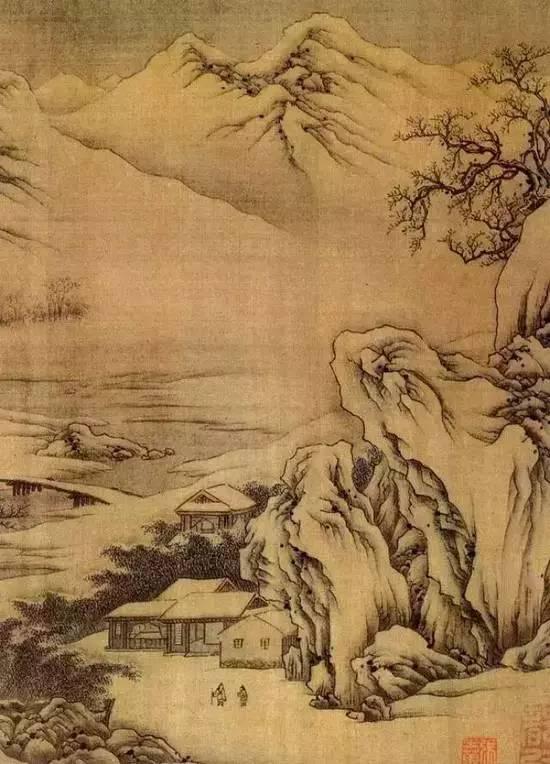 王维《江干雪霁图卷》(局部)