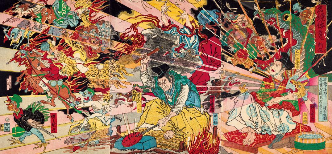 """河锅晓斋是江户末期的日本画家。在幕府统治末期一片混乱的社会环境下,河锅晓斋可谓是""""一股清流""""~纵使外界再动荡,他也不忘了陶醉在自己笔下的各种奇形怪状的动物、妖怪和骷髅当中。自小喜爱绘画的他曾在浮世绘师歌川国芳和狩野派画师骏河台门下学画。而不管是在谁门下时,他的学画经历都十分传奇……  河锅晓斋 「花活骸骨」 师从歌川国芳之后,年轻时的晓斋为了严格遵守导师""""写实""""的要求,据说曾在1839年梅雨季节到神田川对着被砍掉的人头写生,吓"""