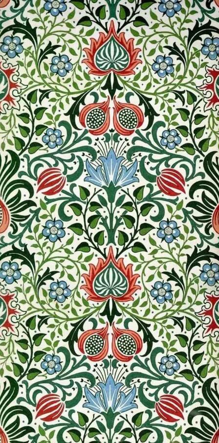 生动的绘画线条,古典浪漫的色彩,密集的构图形式造就了莫里斯装饰纹样