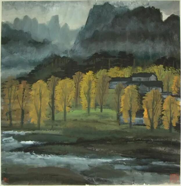 无论在是江南风景画《农村小景》,《山乡》,《柳林》,花卉主题的