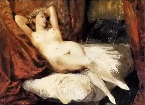 德拉克罗瓦《倚在沙发床上的裸女》