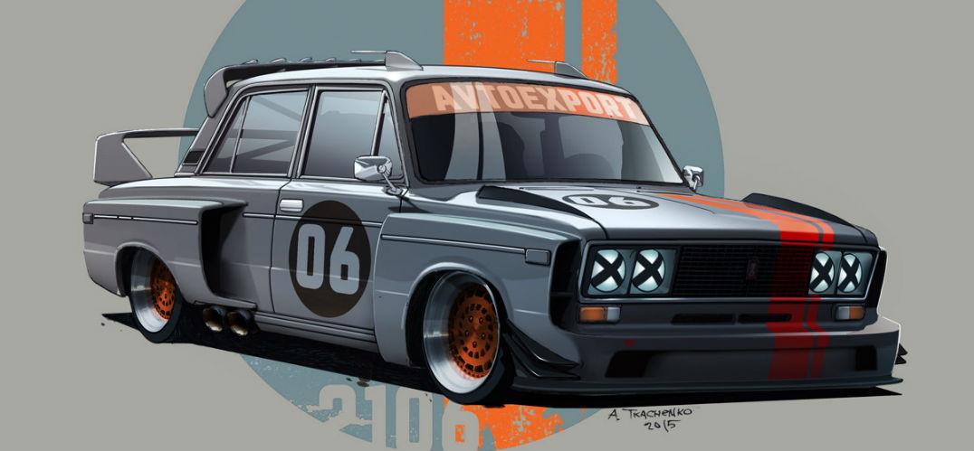 俄罗斯插画家创作一系列复古未来主义风格的汽车插画