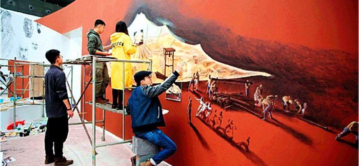 """7天创作完成上千平方米 展览稀客""""壁画""""上墙"""