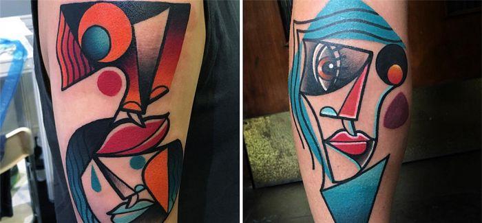 艺术家Mike Boyd的纹身 毕加索的立体主义绘画灵感