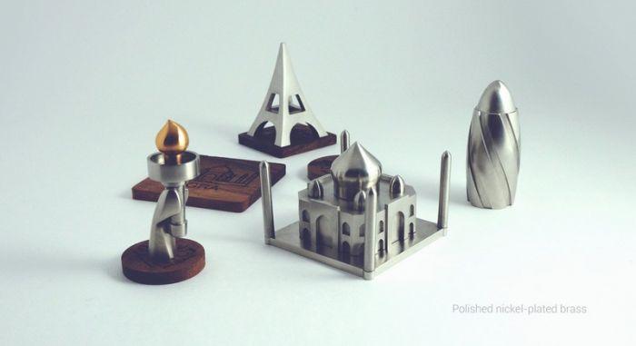 俄罗斯设计师用金属打造世界著名建筑小摆件Jsouv_设计_生活方式_凤凰艺术