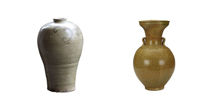 两弓塘窑釉下彩绘梅瓶品赏