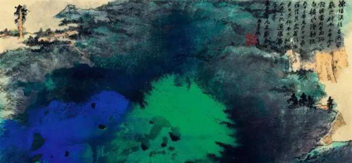 中国嘉德春拍:张大千《溪头夜游图》