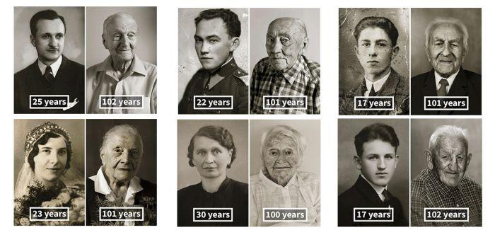 照片中百岁老人的青春与现在