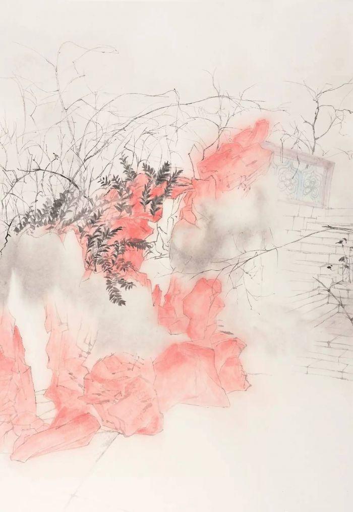 李永新,《台风天之二》,46×68cm,水墨纸本,2014
