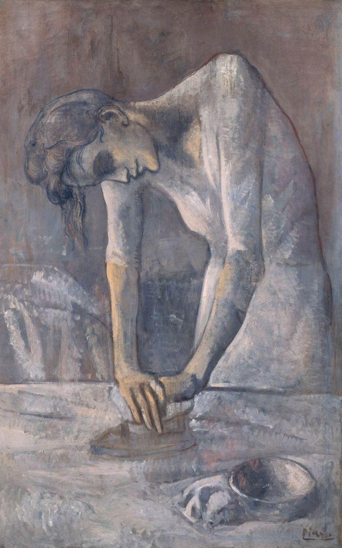 《烫衣服的女人》,毕加索,1904年