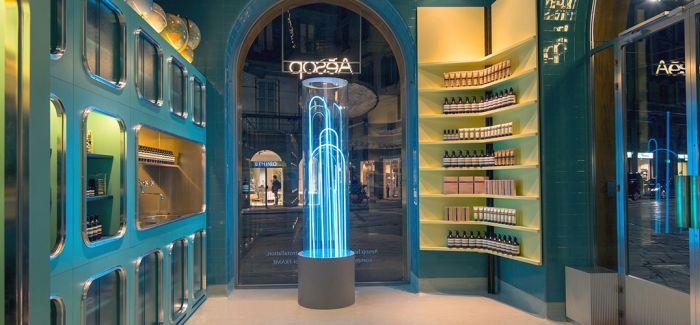 霓虹喷泉装置点亮米兰aesop旗舰店
