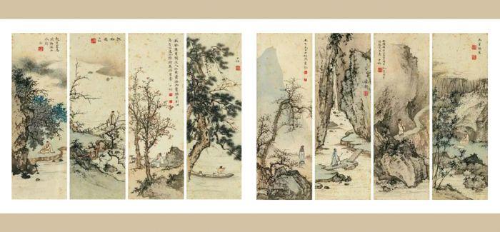 《泉石怡情》:陈少梅的山水人物八屏