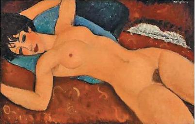 (莫迪利亚尼作品《侧卧的裸女》)