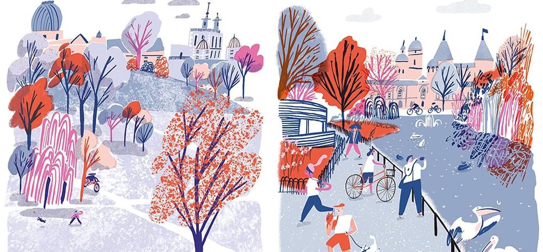 插画家骑单车漫游世界 描绘复古可爱的城市风景