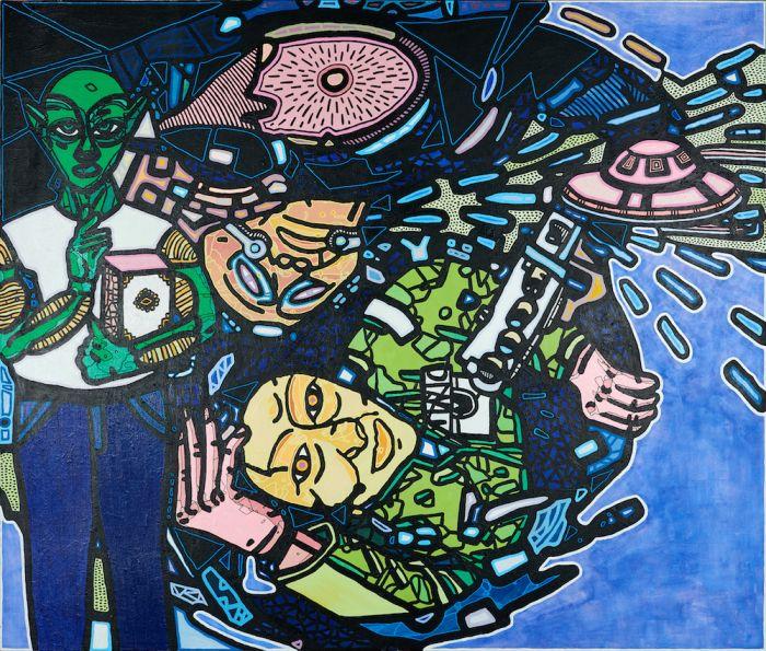 傅志刚的绘画作品展现了他对宇宙与科幻的痴迷