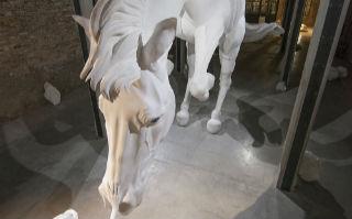 腾空而起的巨型白马雕塑