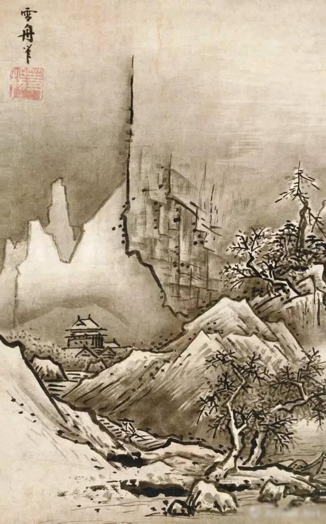 """日本 雪舟 冬景山水 32.2cm×47.7cm 日本京都国立博物馆藏 雪村(一五〇四—一五八九)是继雪舟之后的又一水墨画家,其代表作《风涛图》描绘水面上被强风吹打的树枝和波涛中颠簸的小船,构图上具有动势,深得马远水法。马远对水的描绘方法有深入研究,多以线塑造自然百态的水,《水图十二段》便是其研究成果的集中体现。 默庵灵渊是活跃于十四世纪中期的日本禅宗画家,一三二六至一三二九年历访中国五山,因此他的画上多有中国禅僧题赞,他追慕牧溪,在中国被称为""""牧溪再来"""""""