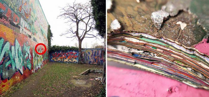 剥下一块涂鸦墙面会怎样?你会发现时光的年轮