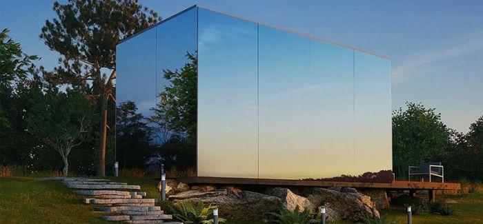 搭载了镜面玻璃的一款预制式小屋