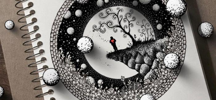 用阴影和线条营造出的超现实涂鸦