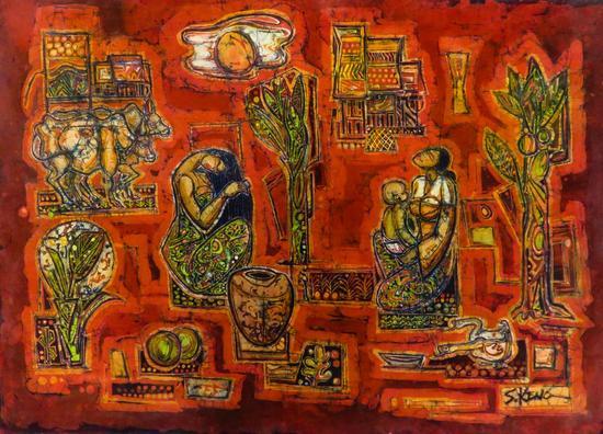 Yahong Art Gallery from Malaysia, Chuah Seow Keng, Village Life, Batik, 63 x 87cm, 2012