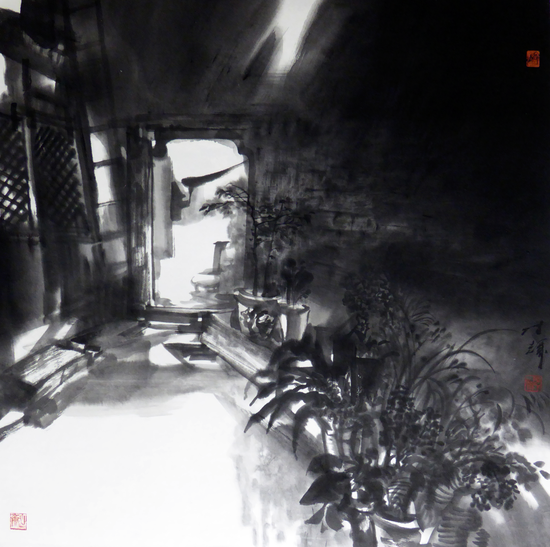 陈辉《老院子的光线》 水墨纸本 69x69cm 2016年