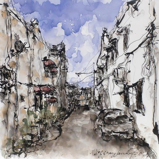 Maya Gallery from Singapore, Jeffrey Wandly, Street Scene III, Georgetown, Penang, Ink and acrylic on canvas, 100 x 100cm, 2016