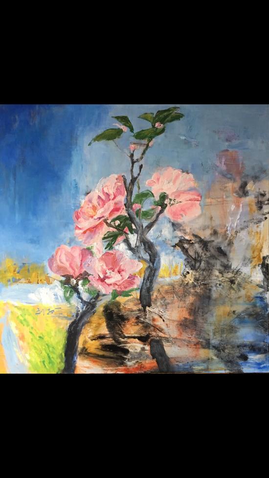 刘子平《花还是花》布面油画 100x100cm   2016年